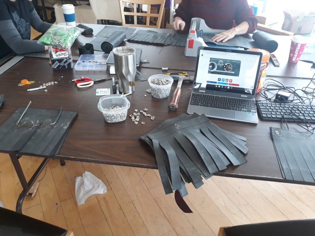 Team TTP  creating winter flaps for the sheleters